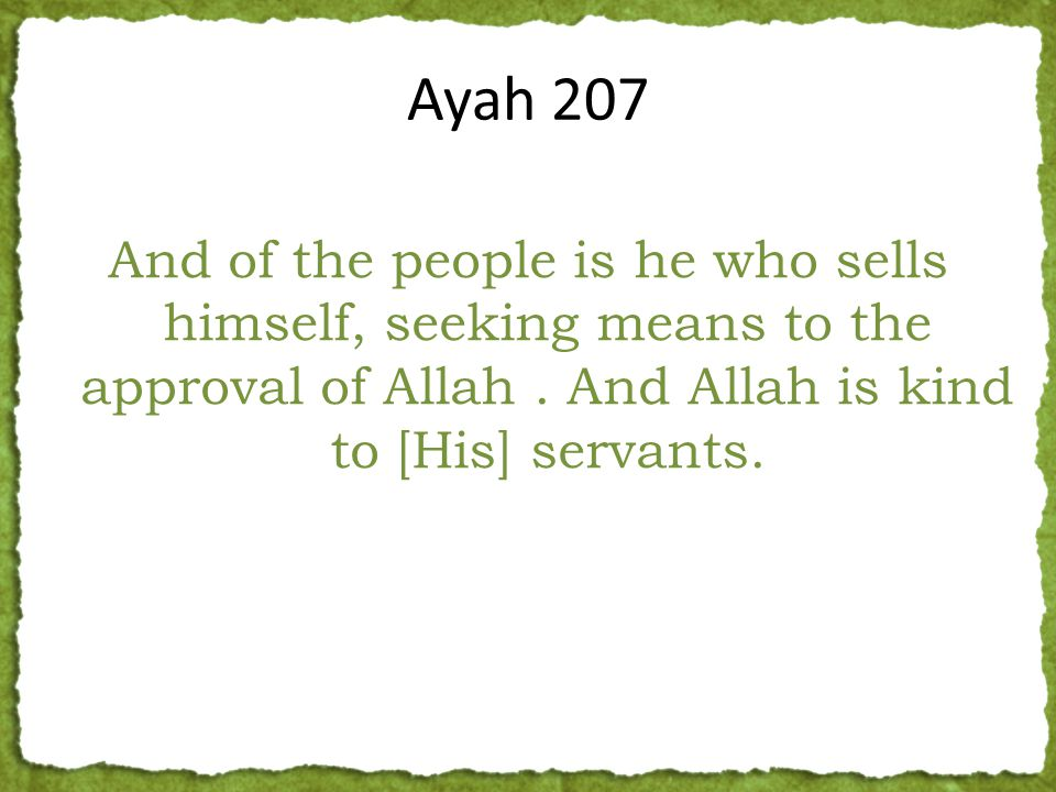 And of the people is he who sells himself, seeking means to the approval of Allah. And Allah is kind to [His] servants. Ayah 207