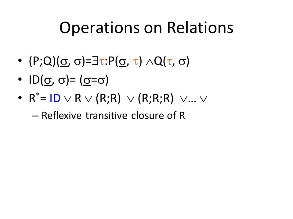 Operations on Relations (P;Q)( ,  )=  :P( ,  )  Q( ,  ) ID( ,  )= (  =  ) R * = ID  R  (R;R)  (R;R;R)  …  – Reflexive transitive closure of R