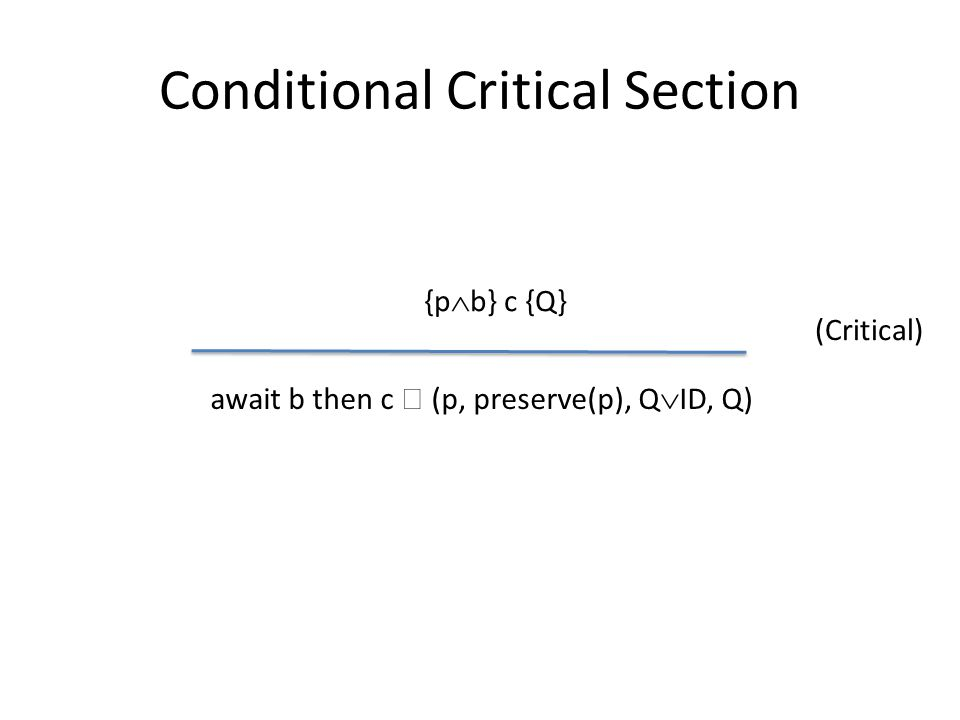 Conditional Critical Section {p  b} c {Q} await b then c  (p, preserve(p), Q  ID, Q) (Critical)