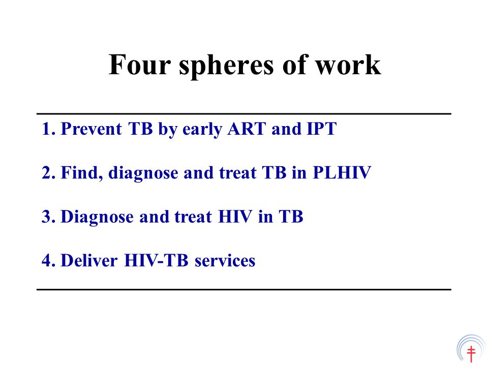 Three I's in HIV care settings Intensified case finding (ICF) Isoniazid Preventive Therapy (IPT) Infection Control (IC) TB diagnosis
