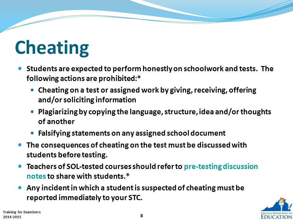 Training for Examiners 2014-2015 39 Reporting Errors If a student reports an error in a test question and/or answer choices, the examiner must not read the test question; instead: Record the name of the student, subject area test and level, question number, and a brief statement of the student's concern.