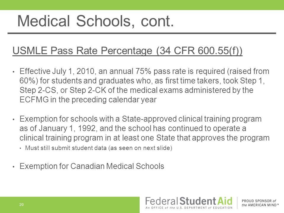 Medical Schools, cont.