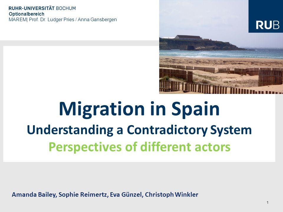 1 Migration in Spain Understanding a Contradictory System Perspectives of different actors Amanda Bailey, Sophie Reimertz, Eva Günzel, Christoph Winkl