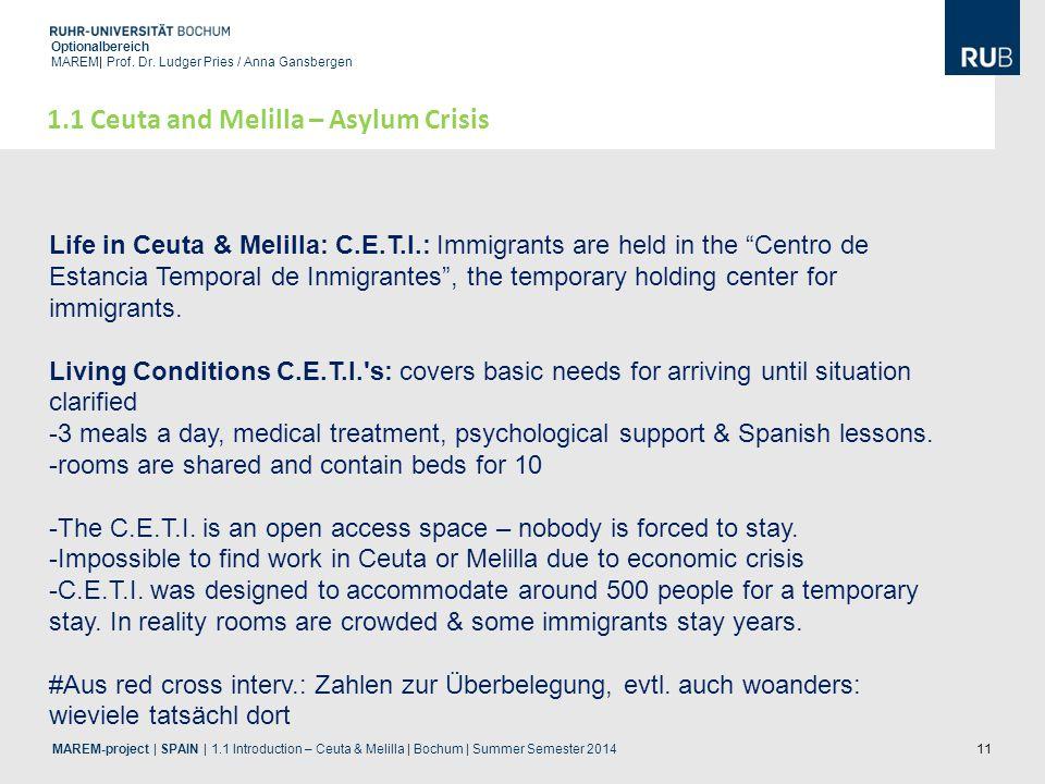11 Optionalbereich MAREM| Prof. Dr. Ludger Pries / Anna Gansbergen 1.1 Ceuta and Melilla – Asylum Crisis Life in Ceuta & Melilla: C.E.T.I.: Immigrants