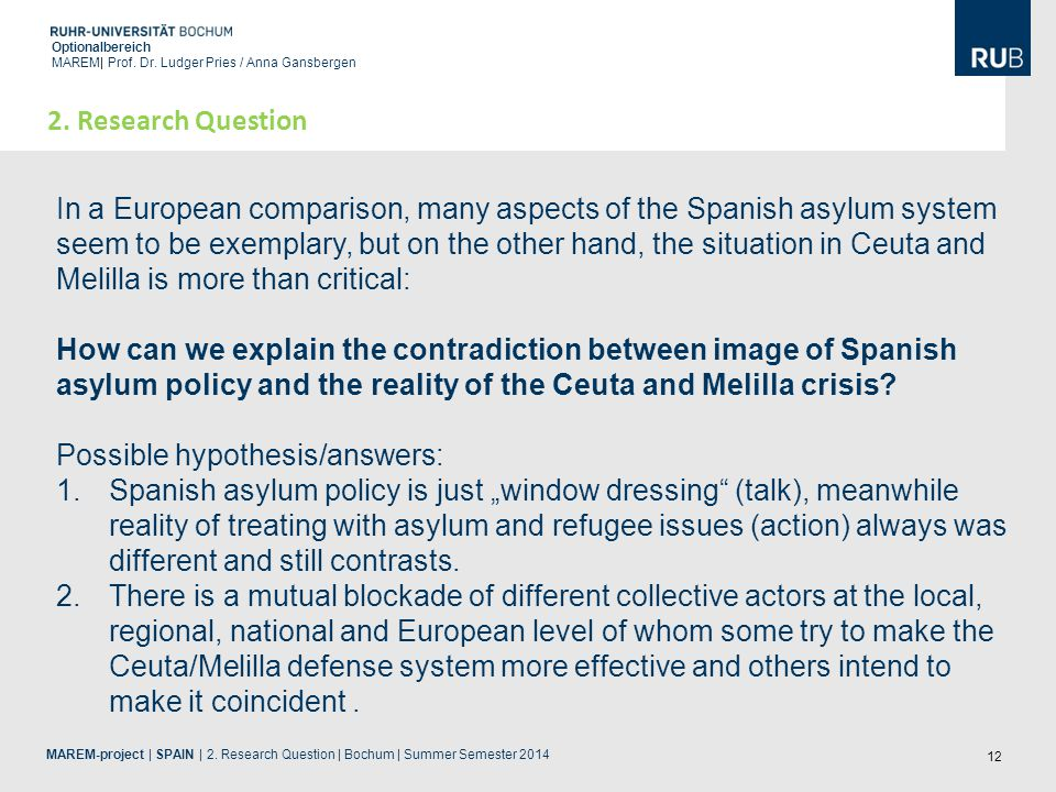 12 Optionalbereich MAREM| Prof. Dr. Ludger Pries / Anna Gansbergen MAREM-project | SPAIN | 2. Research Question | Bochum | Summer Semester 2014 2. Res