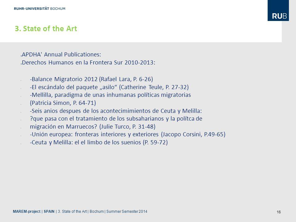 16 3. State of the Art APDHA' Annual Publicationes: Derechos Humanos en la Frontera Sur 2010-2013: -Balance Migratorio 2012 (Rafael Lara, P. 6-26) -El