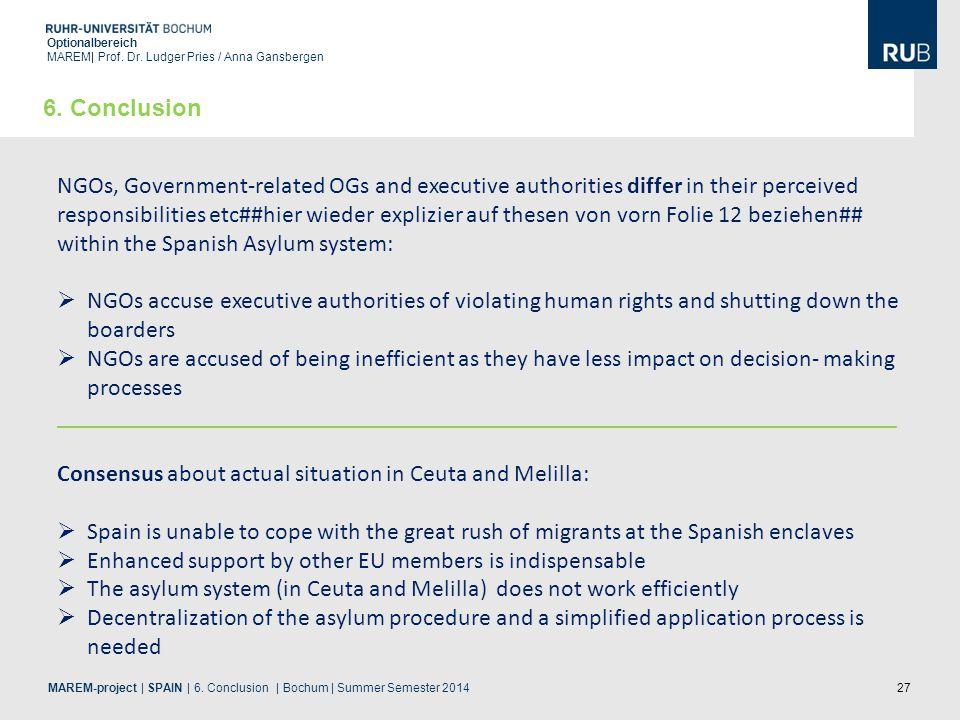 27 Optionalbereich MAREM| Prof. Dr. Ludger Pries / Anna Gansbergen MAREM-project | SPAIN | 6. Conclusion | Bochum | Summer Semester 2014 6. Conclusion