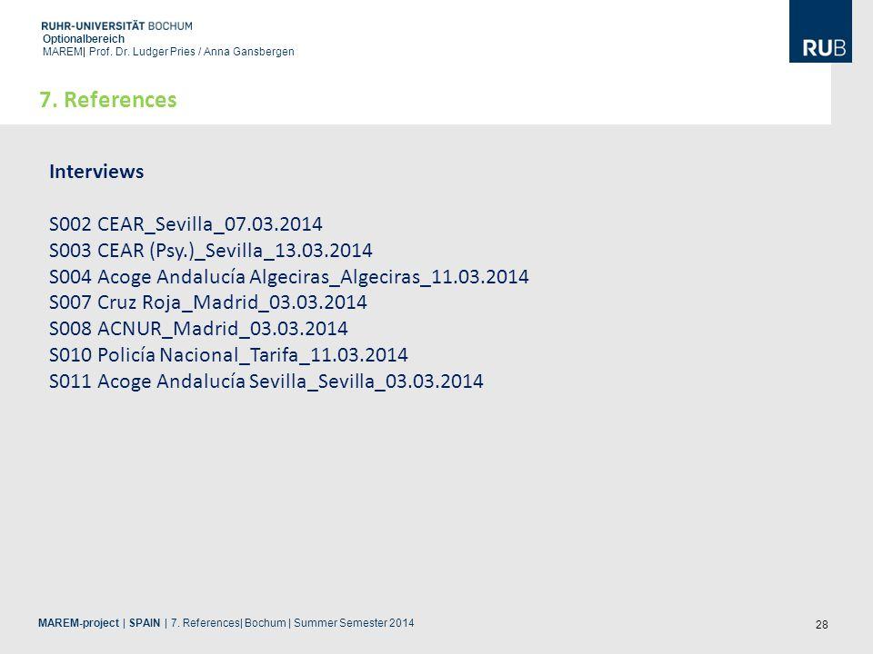 28 Optionalbereich MAREM| Prof. Dr. Ludger Pries / Anna Gansbergen MAREM-project | SPAIN | 7. References| Bochum | Summer Semester 2014 7. References