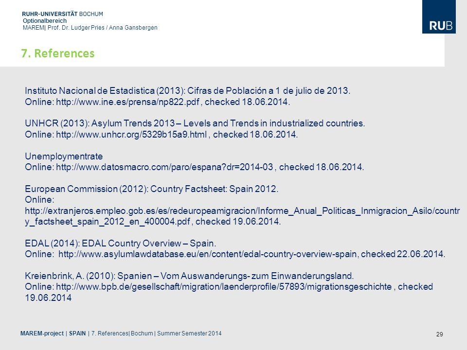 29 Optionalbereich MAREM| Prof. Dr. Ludger Pries / Anna Gansbergen 7. References Instituto Nacional de Estadistica (2013): Cifras de Población a 1 de