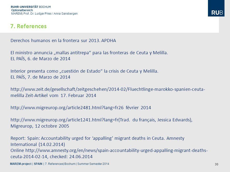 30 Optionalbereich MAREM| Prof. Dr. Ludger Pries / Anna Gansbergen 7. References Derechos humanos en la frontera sur 2013. APDHA El ministro annuncia