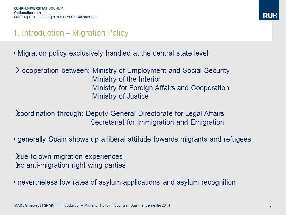 5 Optionalbereich MAREM| Prof. Dr. Ludger Pries / Anna Gansbergen MAREM-project | SPAIN | 1. Introduction – Migration Policy | Bochum | Summer Semeste