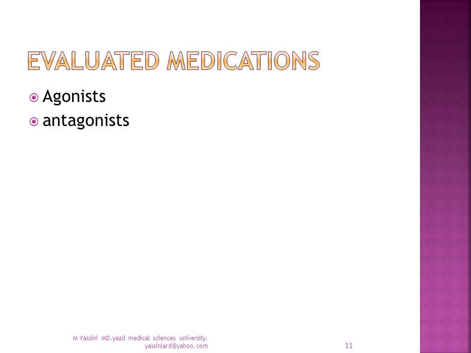  Agonists  antagonists M Yassini MD.yazd medical sciences university. yassiniard@yahoo.com 11