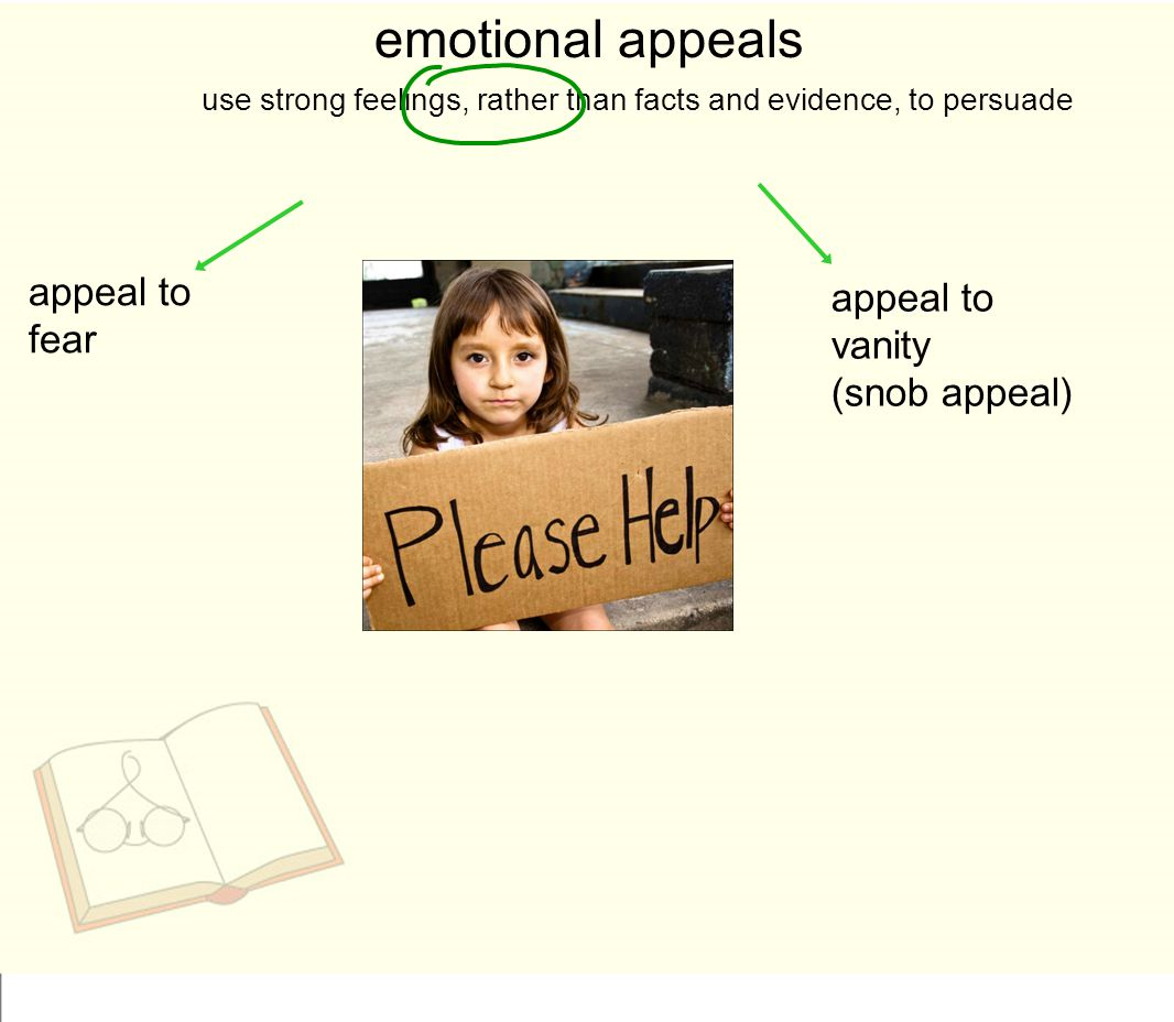 emotional appeals appeal to fear appeal to vanity (snob appeal) use strong feelings, rather than facts and evidence, to persuade