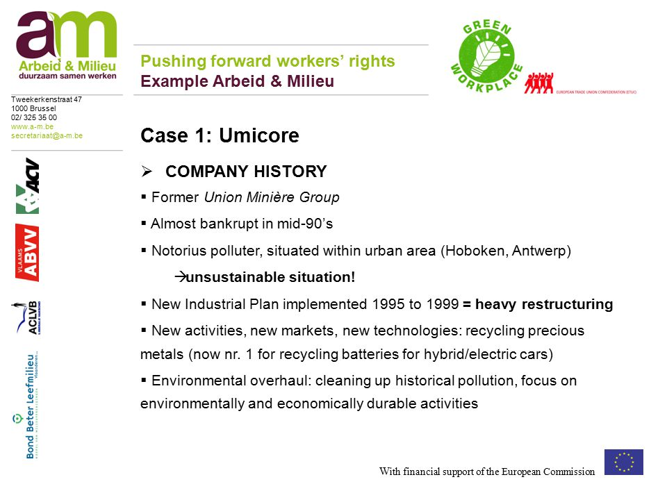  COMPANY HISTORY  Former Union Minière Group  Almost bankrupt in mid-90's  Notorius polluter, situated within urban area (Hoboken, Antwerp)  unsustainable situation.