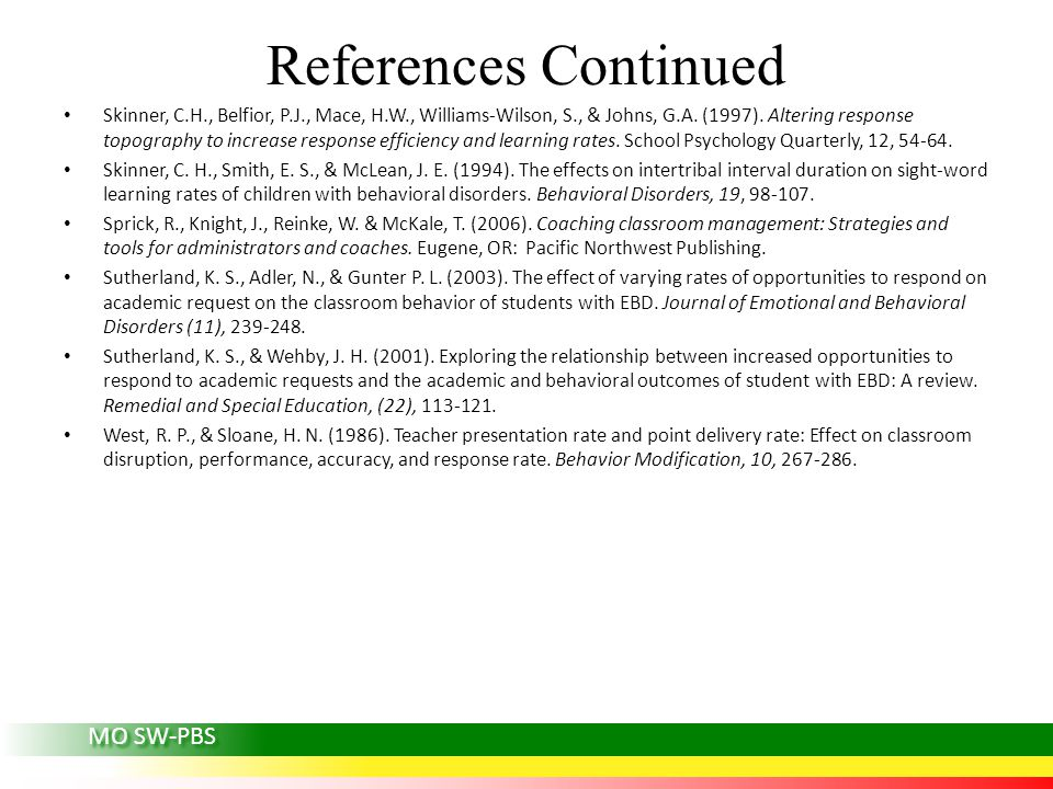 References Continued Skinner, C.H., Belfior, P.J., Mace, H.W., Williams-Wilson, S., & Johns, G.A.