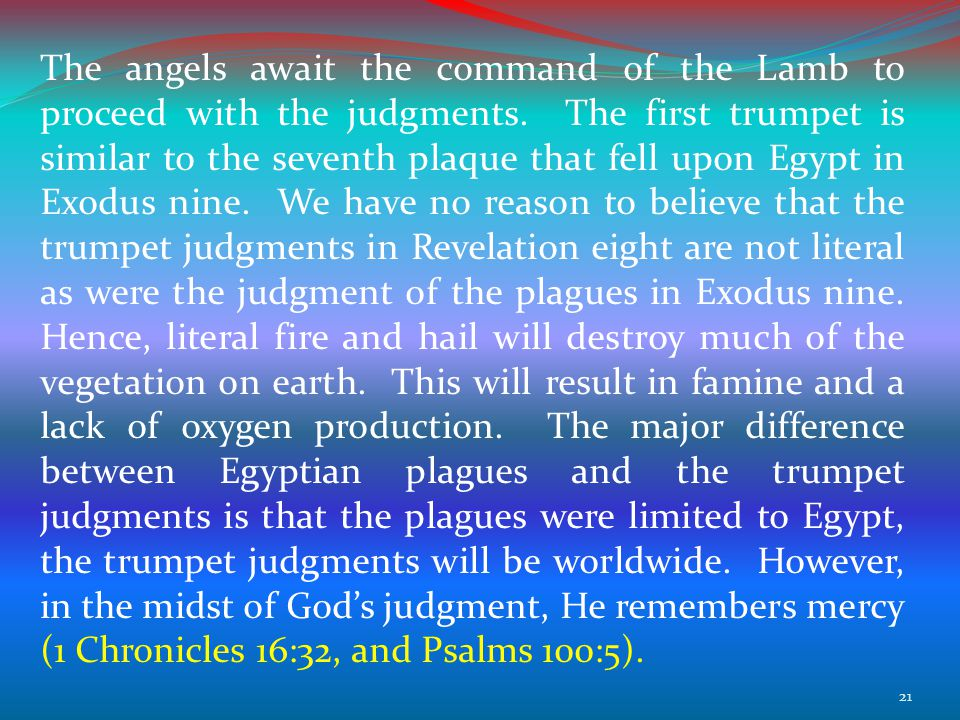 The angels await the command of the Lamb to proceed with the judgments.