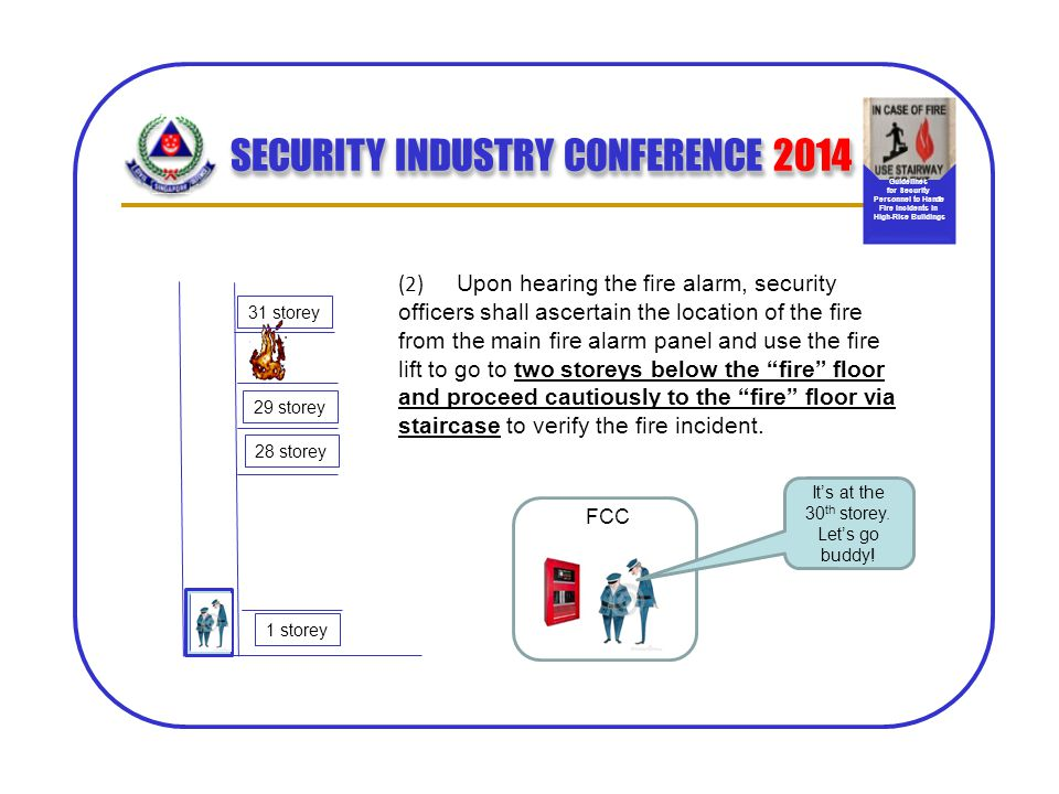 SECURITY INDUSTRY CONFERENCE 2014 (2) Upon hearing the fire alarm, security officers shall ascertain the location of the fire from the main fire alarm