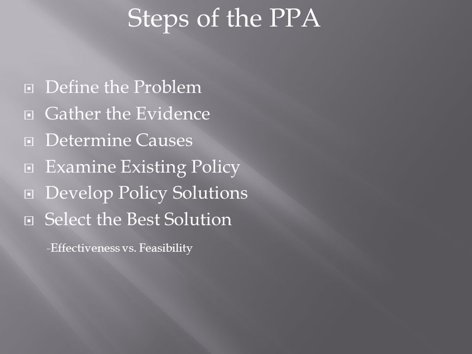 Steps of the PPA  Define the Problem  Gather the Evidence  Determine Causes  Examine Existing Policy  Develop Policy Solutions  Select the Best Solution -Effectiveness vs.
