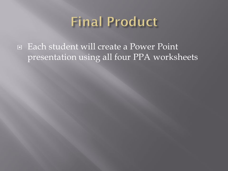  Each student will create a Power Point presentation using all four PPA worksheets