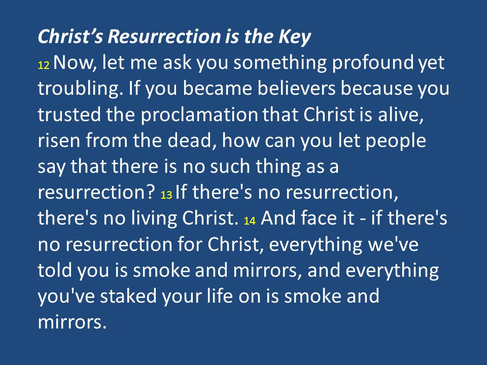 Christ's Resurrection is the Key 12 Now, let me ask you something profound yet troubling.