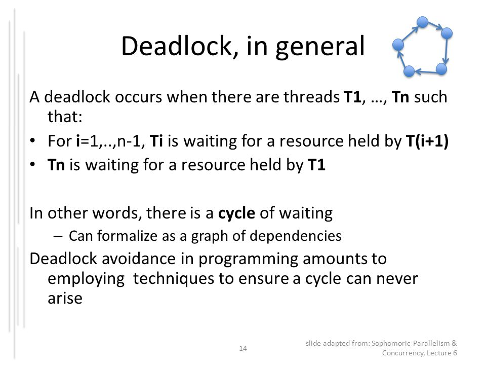 Deadlock, in general A deadlock occurs when there are threads T1, …, Tn such that: For i=1,..,n-1, Ti is waiting for a resource held by T(i+1) Tn is waiting for a resource held by T1 In other words, there is a cycle of waiting – Can formalize as a graph of dependencies Deadlock avoidance in programming amounts to employing techniques to ensure a cycle can never arise 14 slide adapted from: Sophomoric Parallelism & Concurrency, Lecture 6
