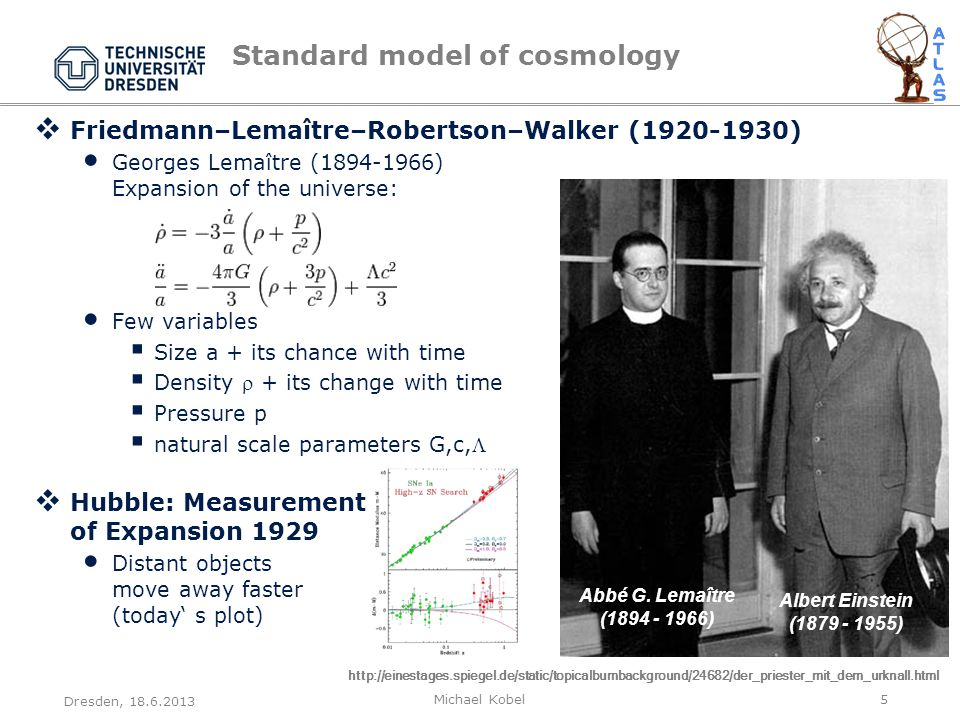 Standard model of cosmology  Friedmann–Lemaître–Robertson–Walker (1920-1930) Georges Lemaître (1894-1966) Expansion of the universe: Few variables  Size a + its chance with time  Density  + its change with time  Pressure p  natural scale parameters G,c,  Hubble: Measurement of Expansion 1929 Distant objects move away faster (today' s plot) Dresden, 18.6.2013 Michael Kobel5 Abbé G.