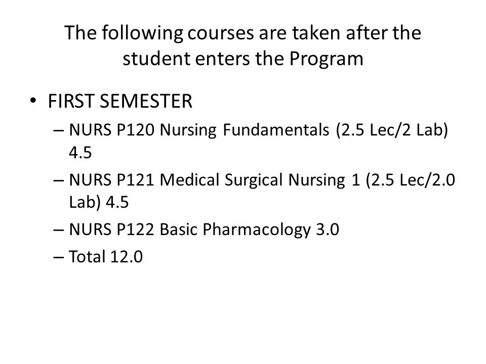 The following courses are taken after the student enters the Program FIRST SEMESTER – NURS P120 Nursing Fundamentals (2.5 Lec/2 Lab) 4.5 – NURS P121 Medical Surgical Nursing 1 (2.5 Lec/2.0 Lab) 4.5 – NURS P122 Basic Pharmacology 3.0 – Total 12.0