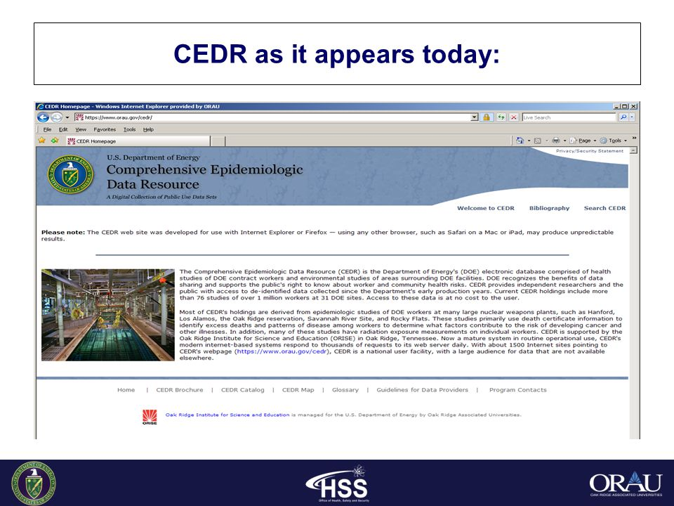 CEDR as it appears today: