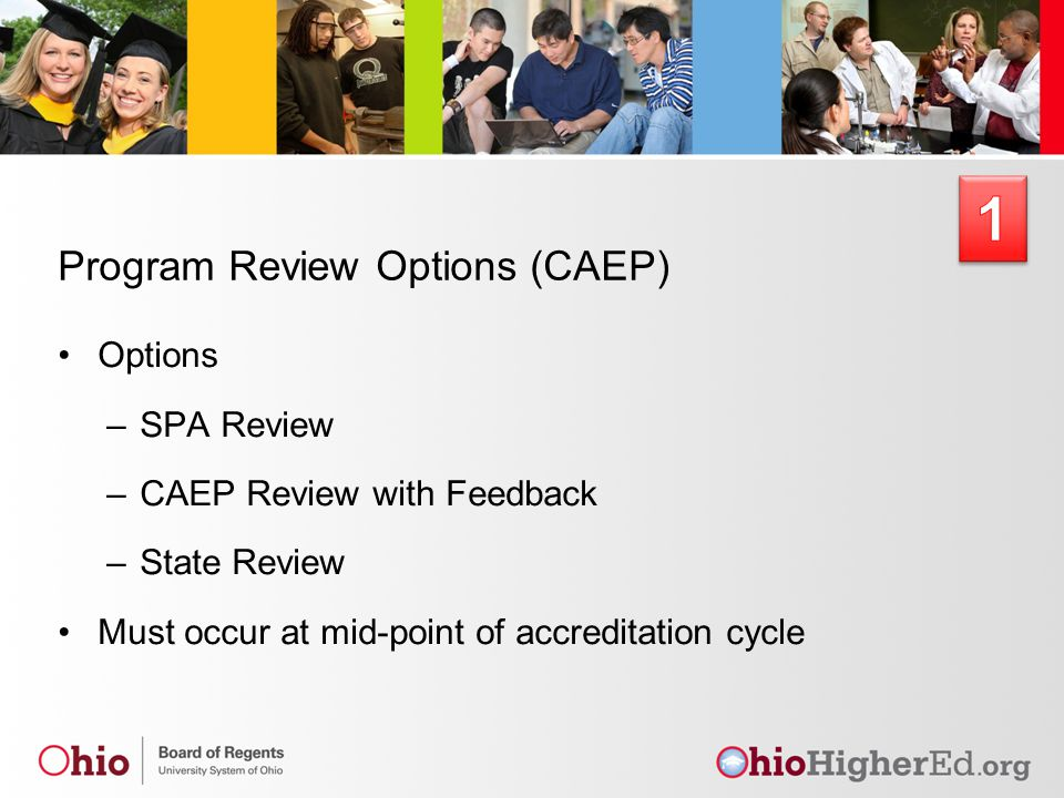 Program Review Options (CAEP) Options –SPA Review –CAEP Review with Feedback –State Review Must occur at mid-point of accreditation cycle