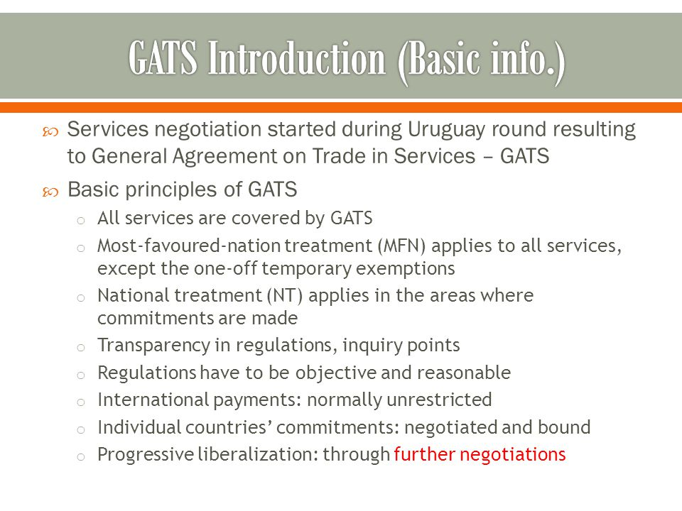  Modes of supply o Mode 1- services supplied from one country to another (e.g.