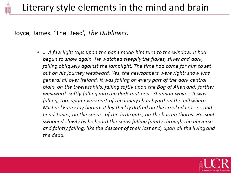 Literary style elements in the mind and brain Joyce, James.