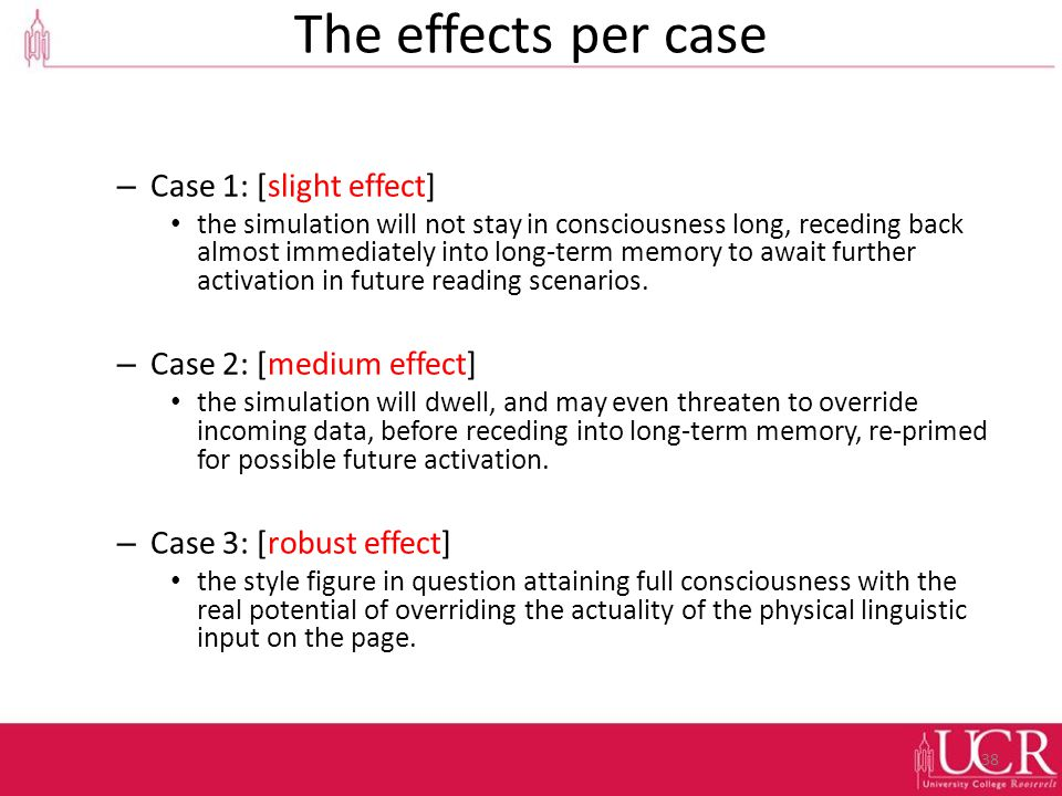 The effects per case – Case 1: [slight effect] the simulation will not stay in consciousness long, receding back almost immediately into long-term memory to await further activation in future reading scenarios.