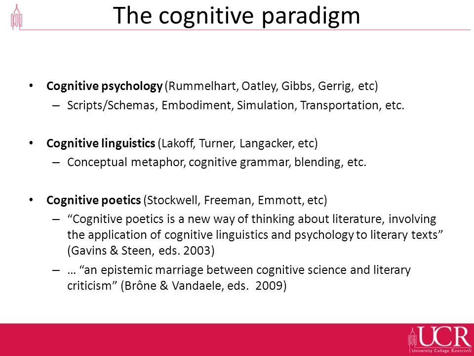 The cognitive paradigm Cognitive psychology (Rummelhart, Oatley, Gibbs, Gerrig, etc) – Scripts/Schemas, Embodiment, Simulation, Transportation, etc.