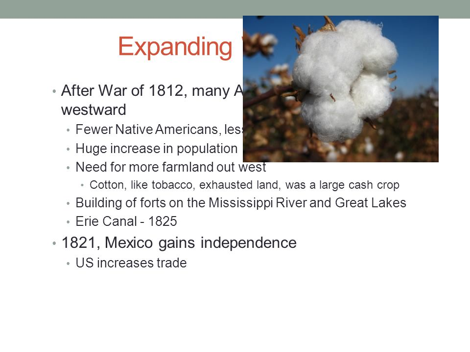 Expanding Westward After War of 1812, many Americans moved westward Fewer Native Americans, less threats Huge increase in population Need for more farmland out west Cotton, like tobacco, exhausted land, was a large cash crop Building of forts on the Mississippi River and Great Lakes Erie Canal - 1825 1821, Mexico gains independence US increases trade
