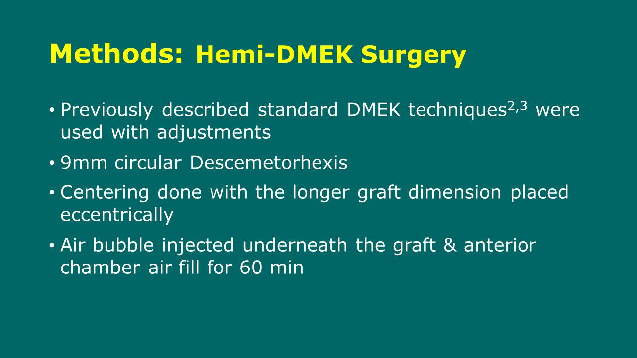 Methods: Hemi-DMEK Surgery Previously described standard DMEK techniques 2,3 were used with adjustments 9mm circular Descemetorhexis Centering done with the longer graft dimension placed eccentrically Air bubble injected underneath the graft & anterior chamber air fill for 60 min