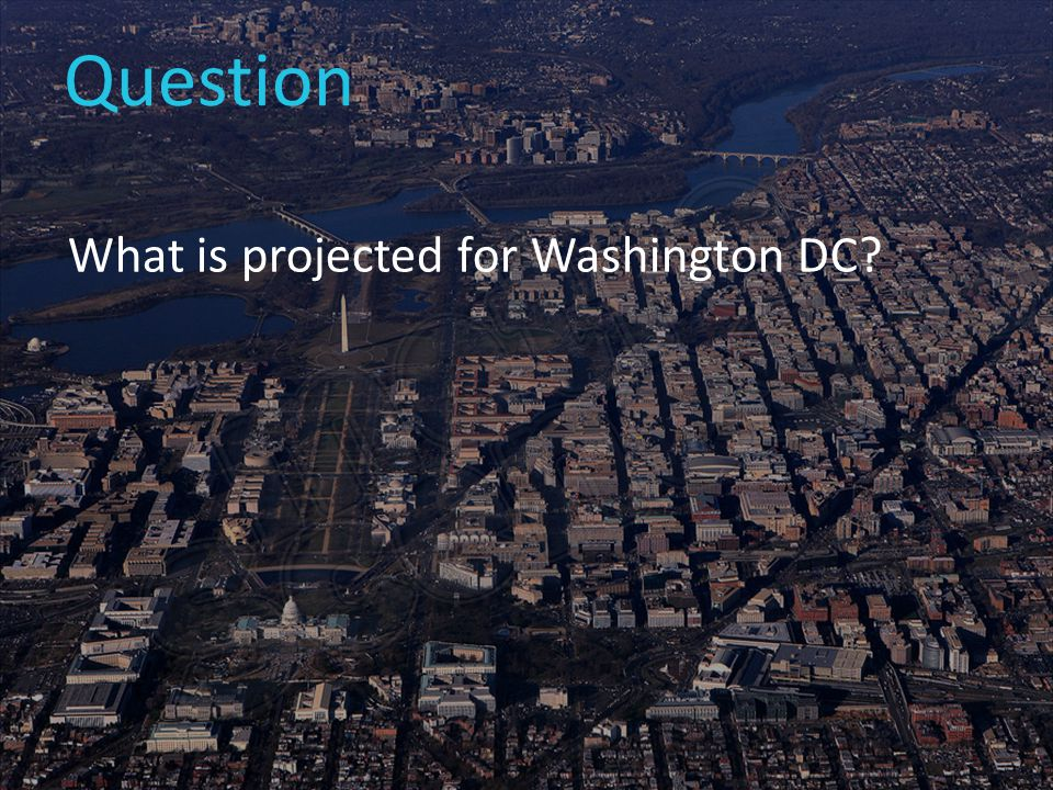 Question What is projected for Washington DC