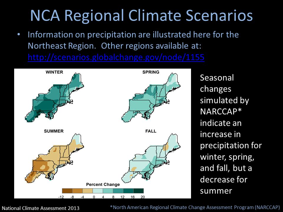 NCA Regional Climate Scenarios Information on precipitation are illustrated here for the Northeast Region.