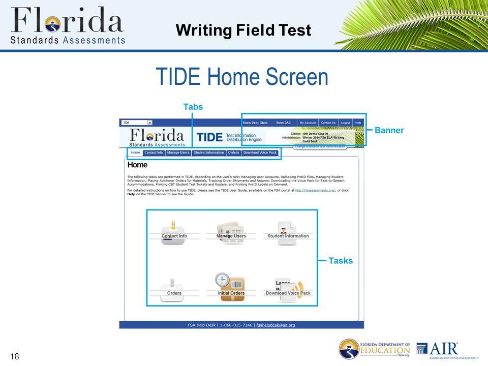 Writing Field Test 18 TIDE Home Screen