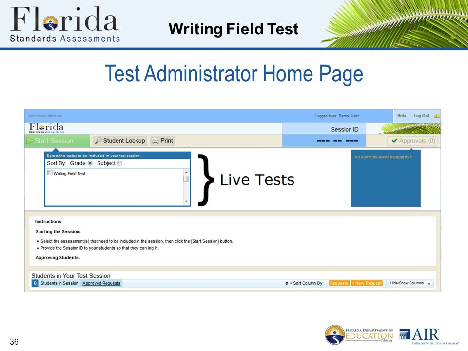 Writing Field Test Test Administrator Home Page 36