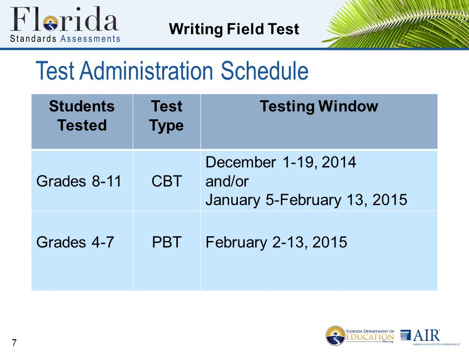 Writing Field Test Test Administration Schedule 7 Students Tested Test Type Testing Window Grades 8-11CBT December 1-19, 2014 and/or January 5-February 13, 2015 Grades 4-7PBTFebruary 2-13, 2015