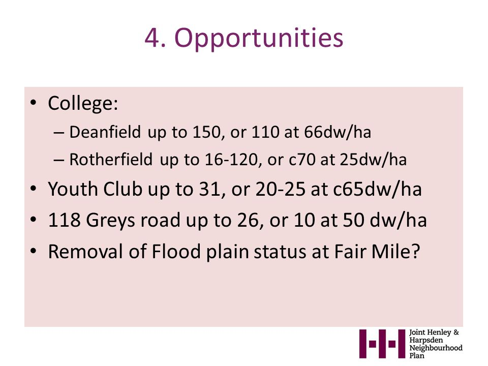 4. Opportunities College: – Deanfield up to 150, or 110 at 66dw/ha – Rotherfield up to 16-120, or c70 at 25dw/ha Youth Club up to 31, or 20-25 at c65d