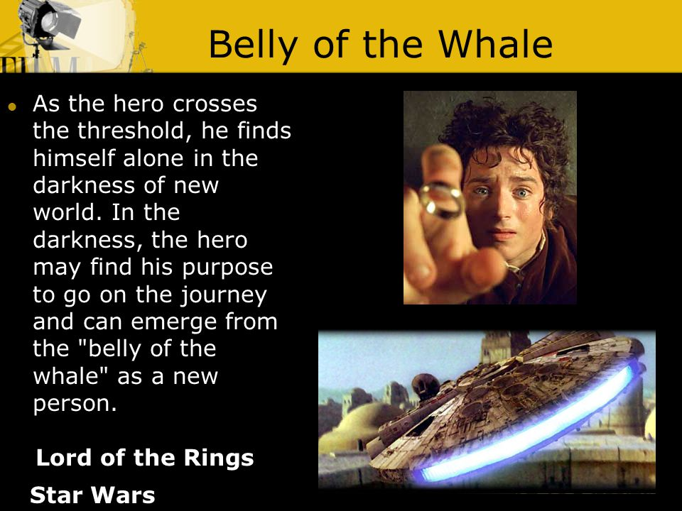 Belly of the Whale Lord of the Rings As the hero crosses the threshold, he finds himself alone in the darkness of new world.