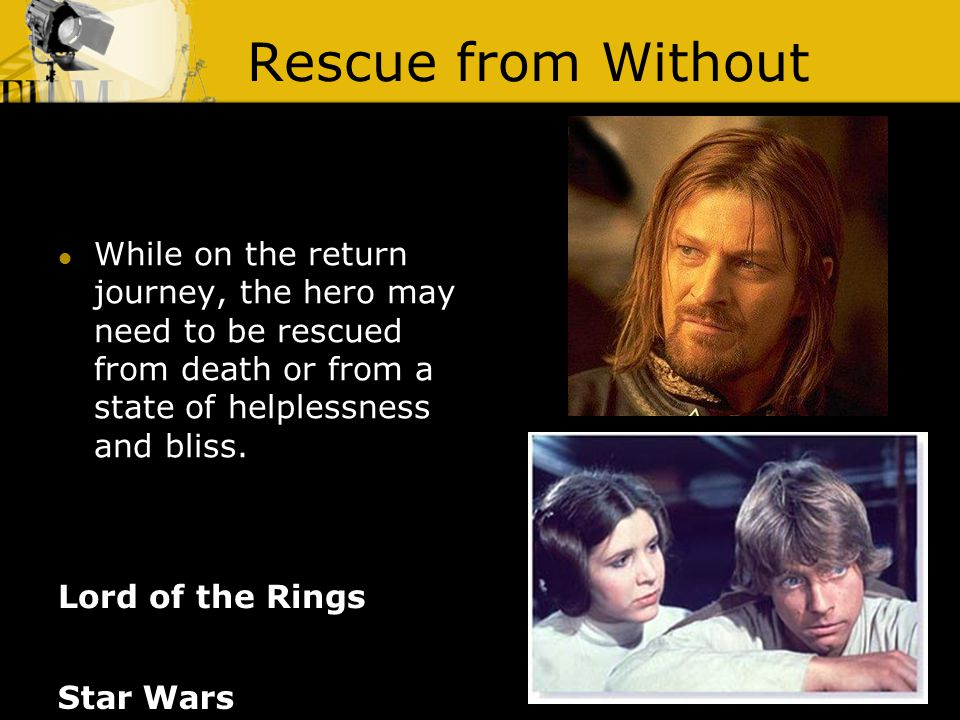 Rescue from Without Lord of the Rings While on the return journey, the hero may need to be rescued from death or from a state of helplessness and bliss.