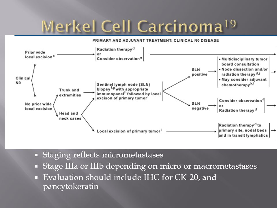  Staging reflects micrometastases  Stage IIIa or IIIb depending on micro or macrometastases  Evaluation should include IHC for CK-20, and pancytoke
