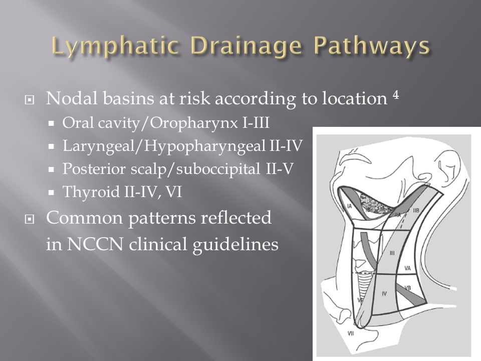  Nodal basins at risk according to location 4  Oral cavity/Oropharynx I-III  Laryngeal/Hypopharyngeal II-IV  Posterior scalp/suboccipital II-V  Thyroid II-IV, VI  Common patterns reflected in NCCN clinical guidelines