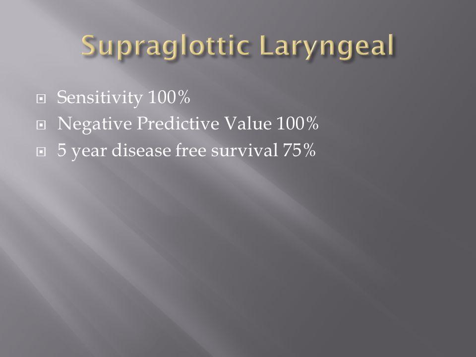  Sensitivity 100%  Negative Predictive Value 100%  5 year disease free survival 75%
