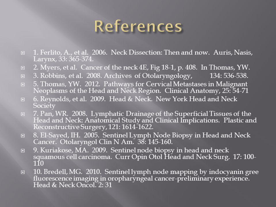  1. Ferlito, A., et al. 2006. Neck Dissection: Then and now. Auris, Nasis, Larynx, 33: 365-374.  2. Myers, et al. Cancer of the neck 4E, Fig 18-1, p
