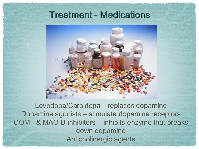 Treatment - Medications Levodopa/Carbidopa – replaces dopamine Dopamine agonists – stimulate dopamine receptors COMT & MAO-B inhibitors – inhibits enzyme that breaks down dopamine Anticholinergic agents