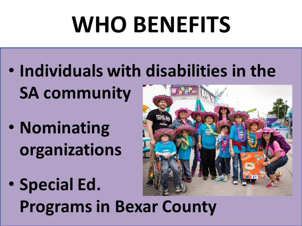 Individuals with disabilities in the SA community Nominating organizations Special Ed.