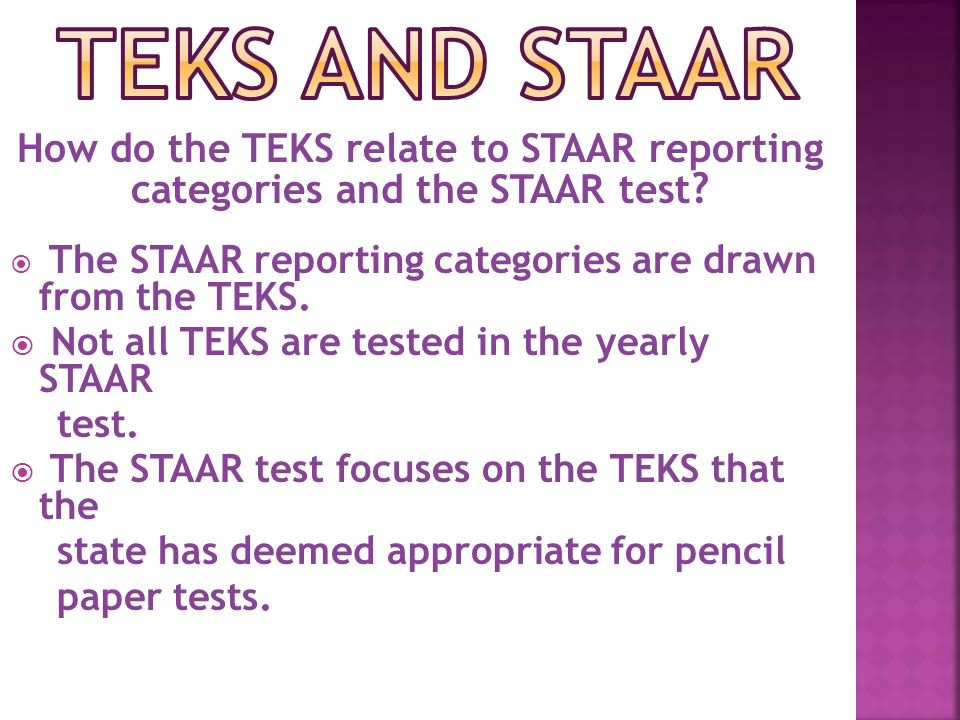 How do the TEKS relate to STAAR reporting categories and the STAAR test .